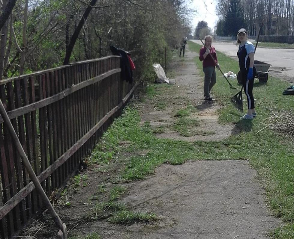 Учні прибирають вулиці села