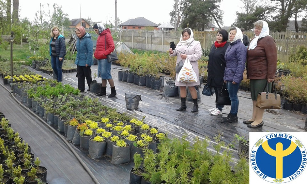 Учасники екскурсії оглядають саджанці квітів та кущів