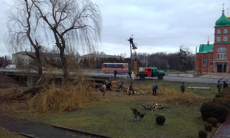 Комунальники зрізають дерево