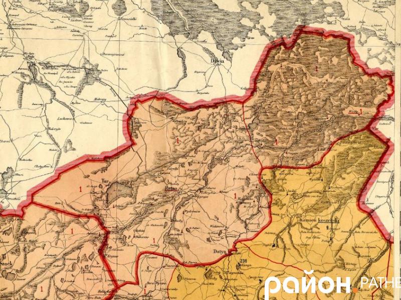 Мапа Ратнівського району у складі Речі Посполитої 16 століття