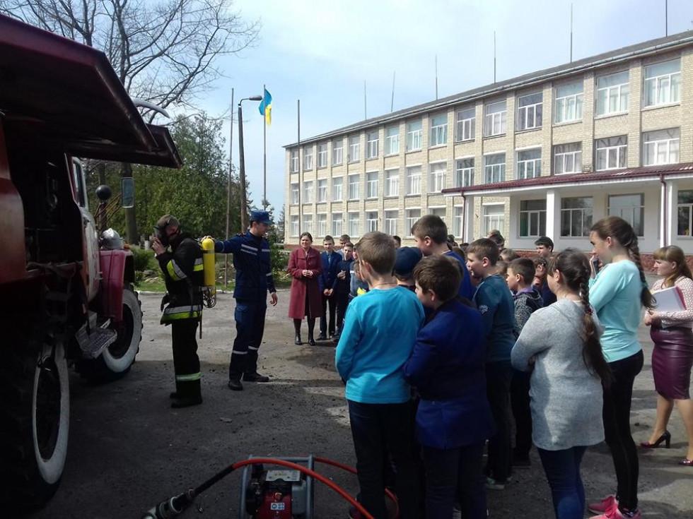 Рятувальники демонструють учням свою роботу
