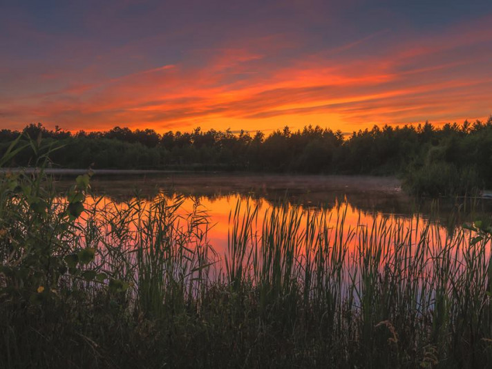 Захід сонця на озері Колпине