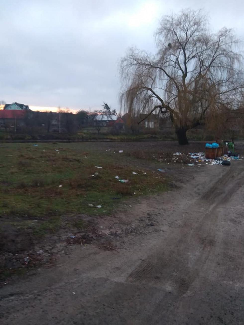 На частину берега розлетілося сміття